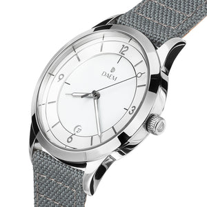DAEM wythe white dial watch with grey cordura strap side