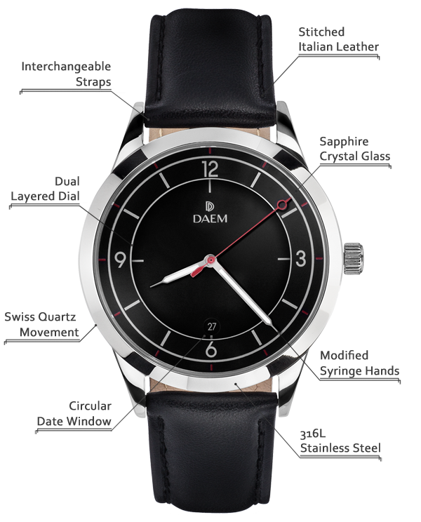 DAEM Midnight Black Leather detailed specifications