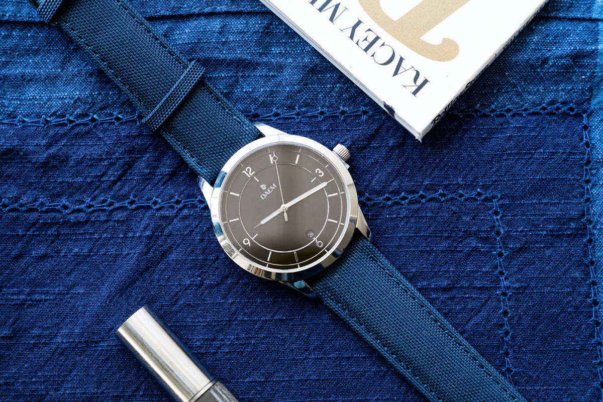 DAEM Sterling Blue canvas watch