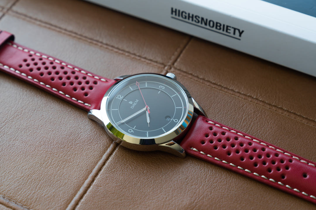 DAEM Nassau perforated leather strap watch