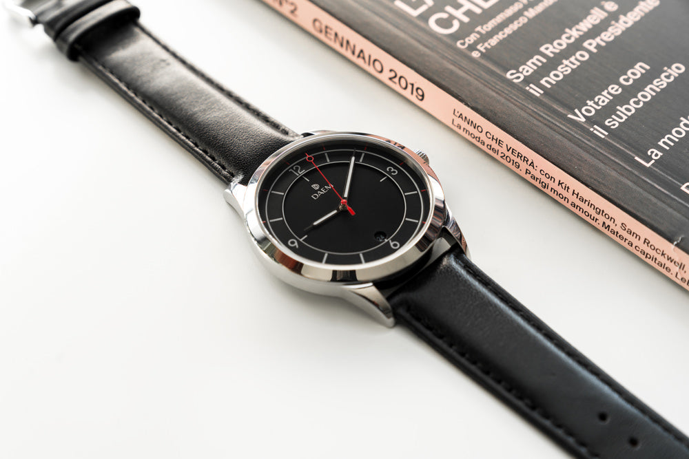 DAEM Midnight Black leather watch
