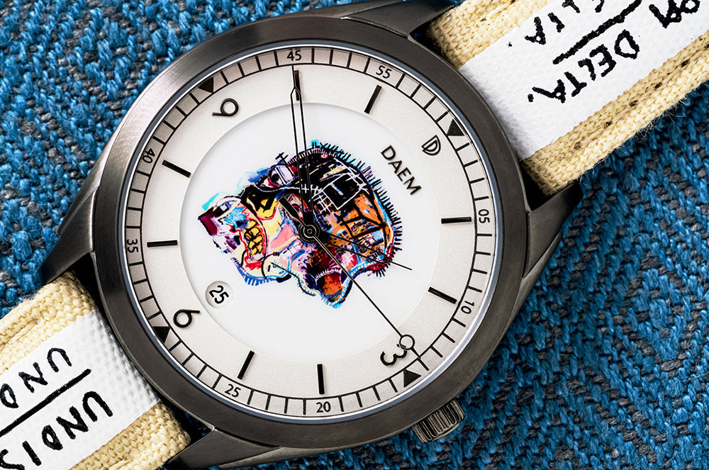 DAEM x Basquiat Skull watch macro