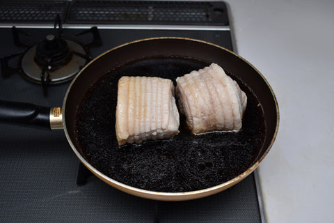 Boiled chashu in marinade to darken