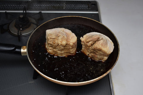 Chashu soaking in marinade