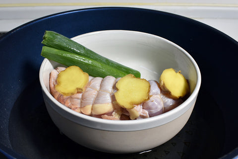 Chicken Chashu steamed with garlic negi sake