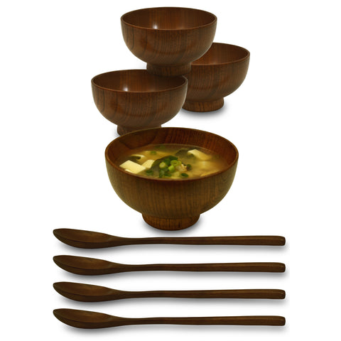 "Wooden 4.3"" Japanese Serving Bowl 8-Piece Set"
