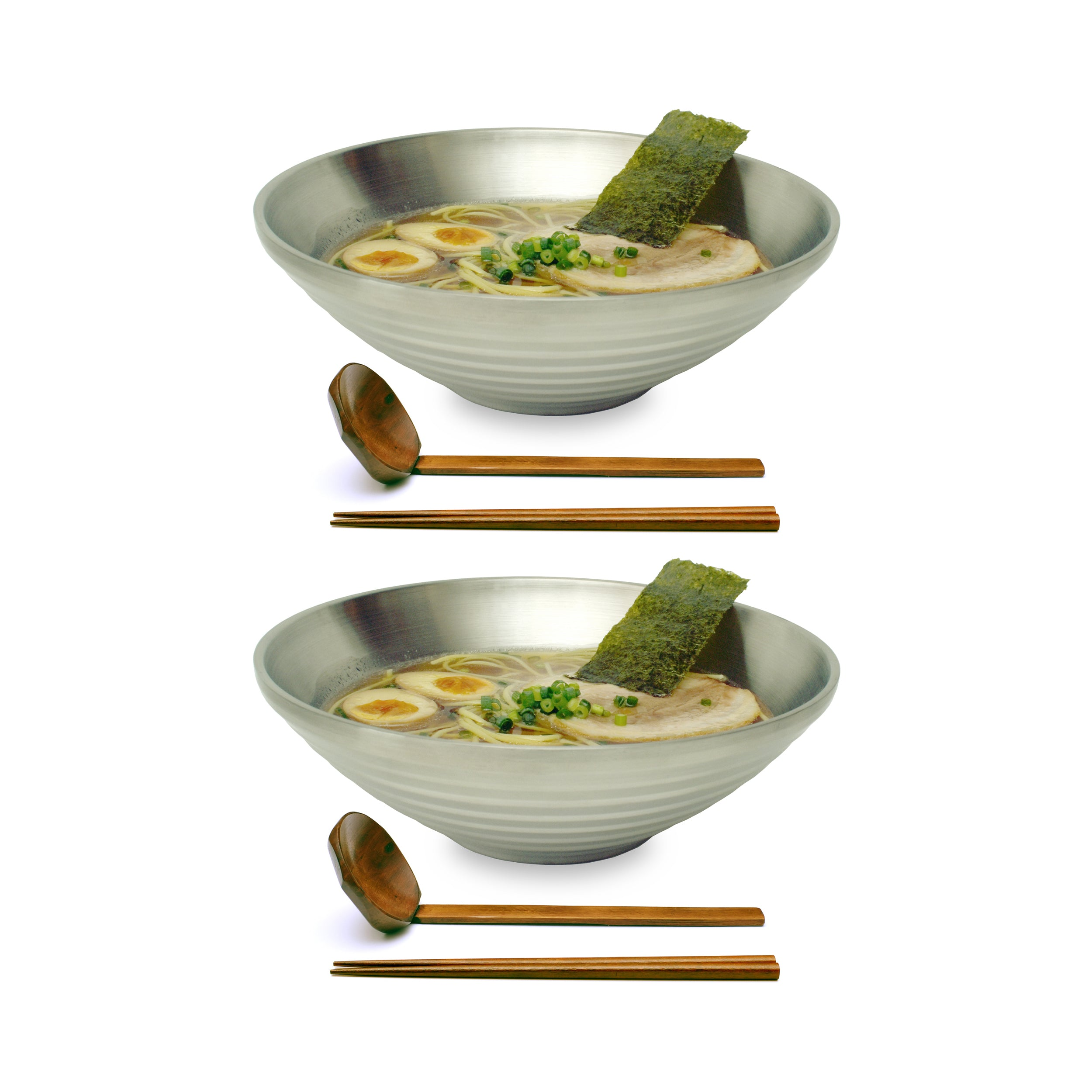"Stainless Steel 9.5"" Japanese Ramen Bowls"