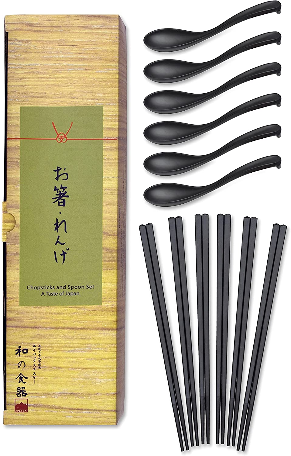 Set of 6 Chopsticks and Large Ladle Spoon Utensil Set (Melamine)