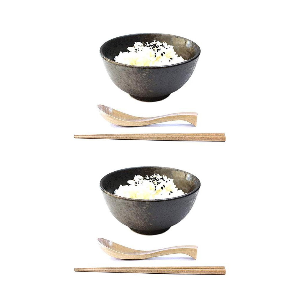 Ceramic Black Donburi Set with Matching Wooden Utensils