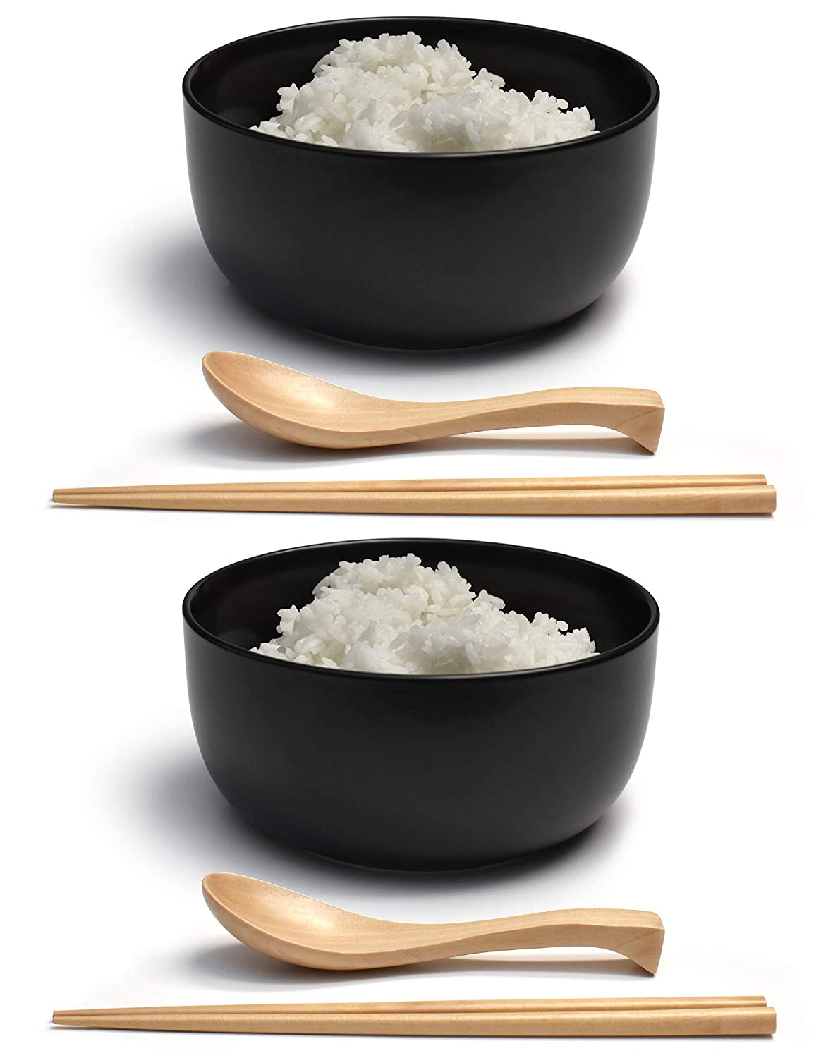 "Porcelain 6"" Deep Japanese Bowl Set (Black, 2)"