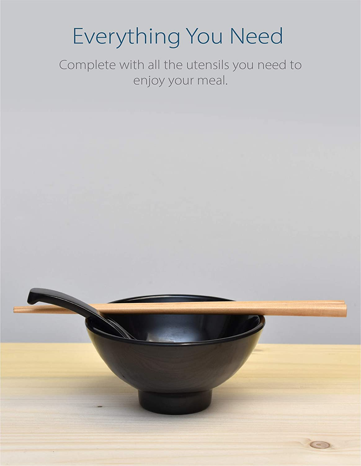 "Melamine 4.7"" Japanese Rice Bowls (Black, 4)"