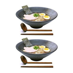Ceramic Ramen Bowl with Wooden Utensils