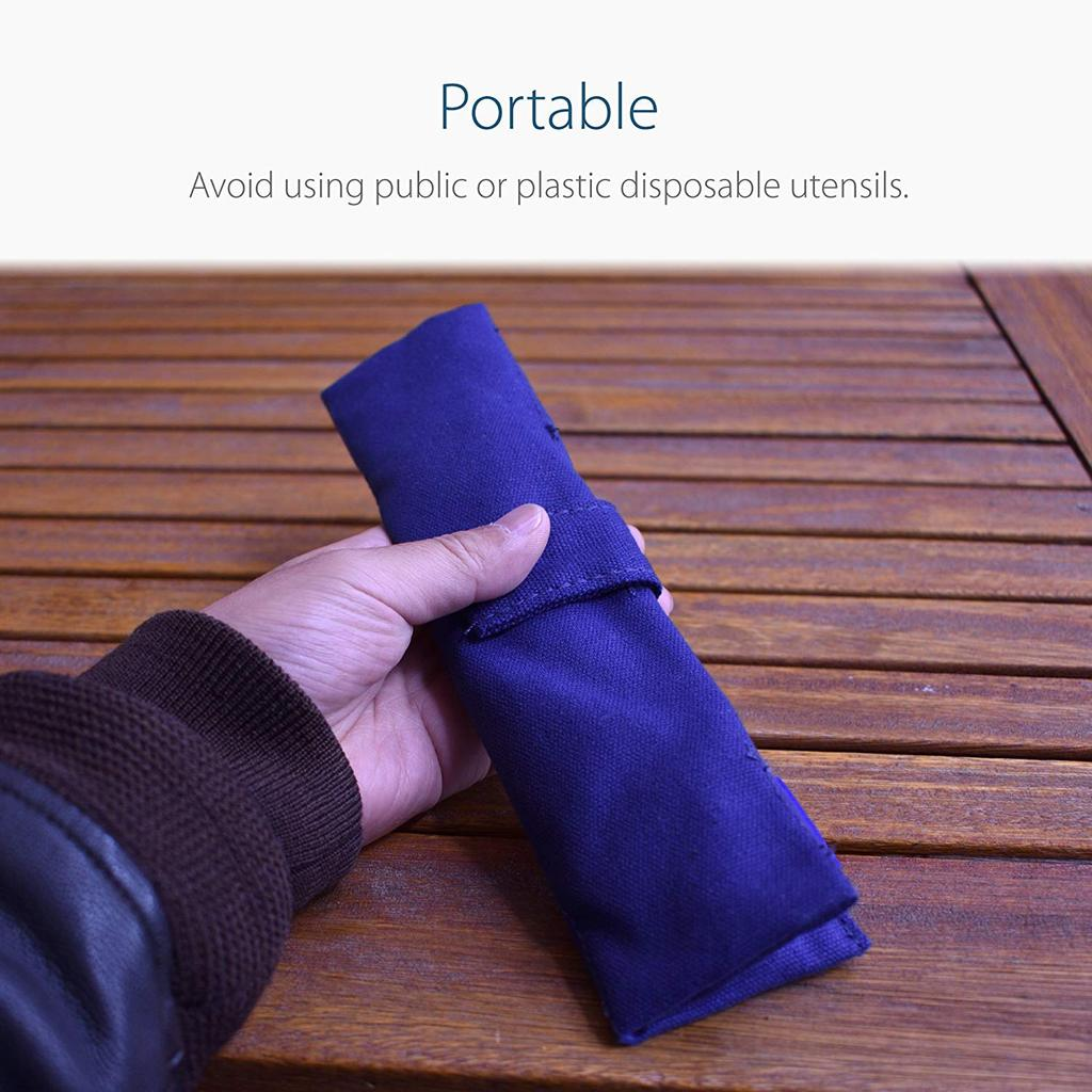 Folded Blue Cutlery Pouch in Use