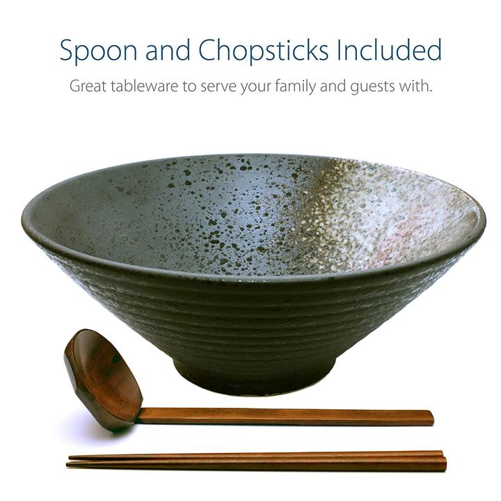 Large Ceramic Ramen Bowl with Matching Wooden Chopstick and Spoon