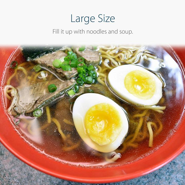 Red and Black Large Ramen Bowl with Chashu and Ramen Egg