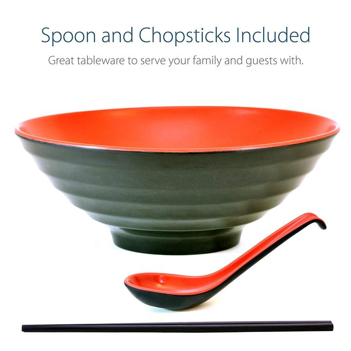 Red and Black Large Ramen Bowl Set with Chopsticks and Spoon