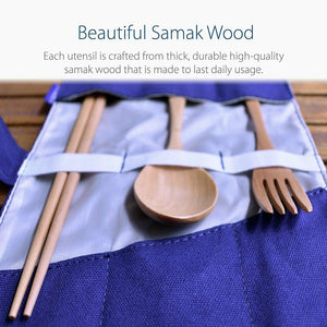 Samak Wood Wooden Cutlery with Pouch