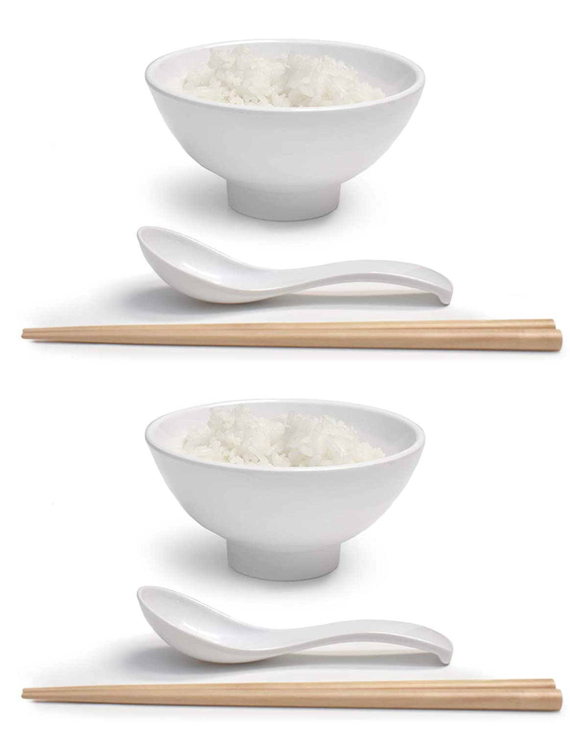 "Melamine 4.7"" Japanese Rice Bowls (White, 2)"