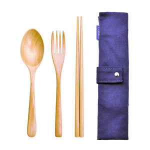 Wooden Cutlery Fork Spoon and Chopsticks Set with Pouch