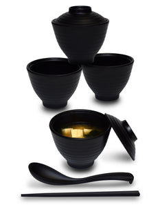 Black Miso Soup Bowl Set
