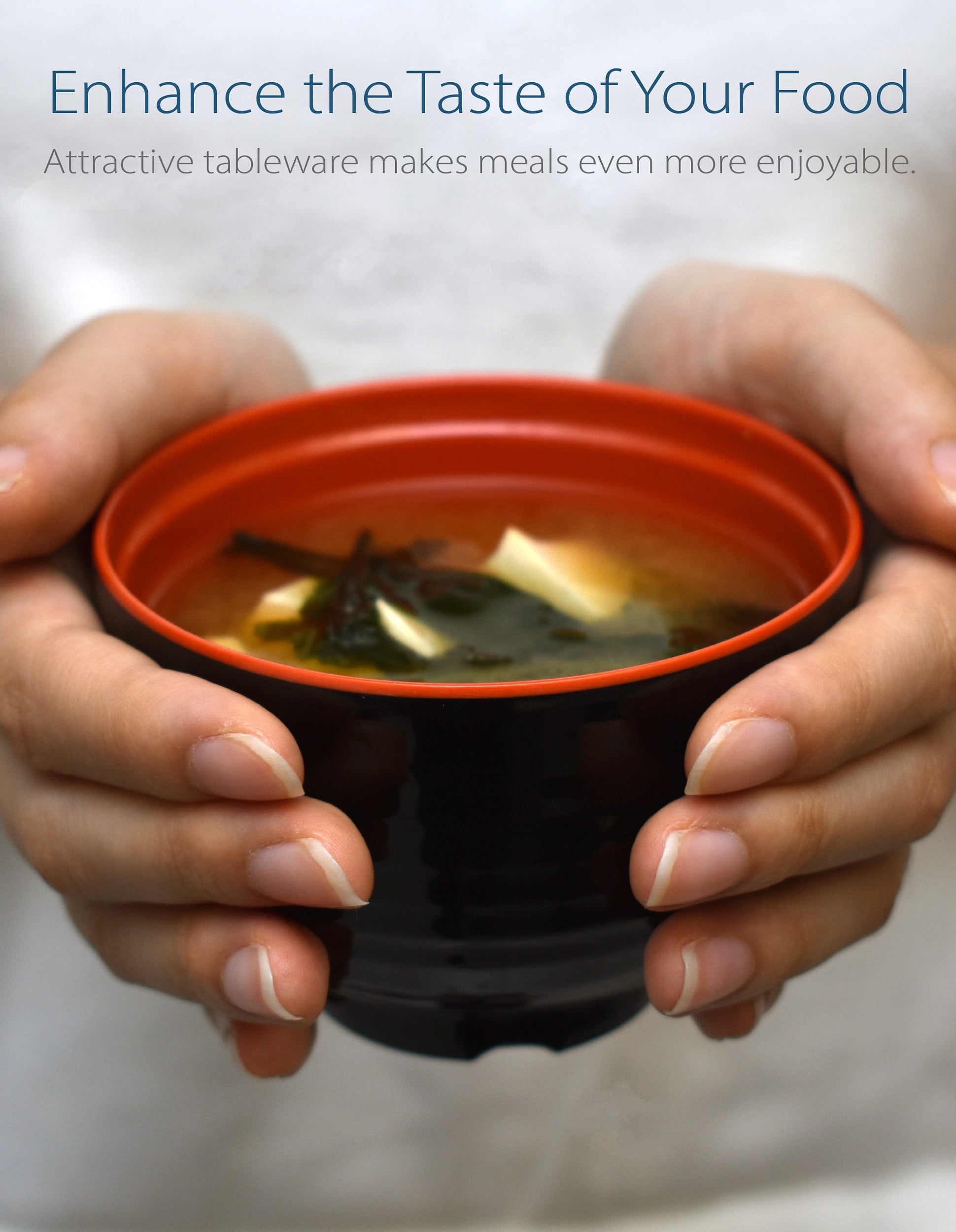 Black and Red Miso Soup Bowl Set
