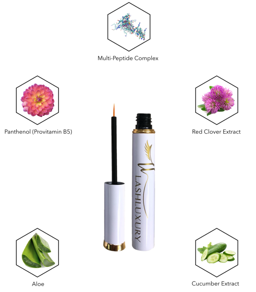 Healthy natural ingredients in the LashLuxury eyelash growth serum