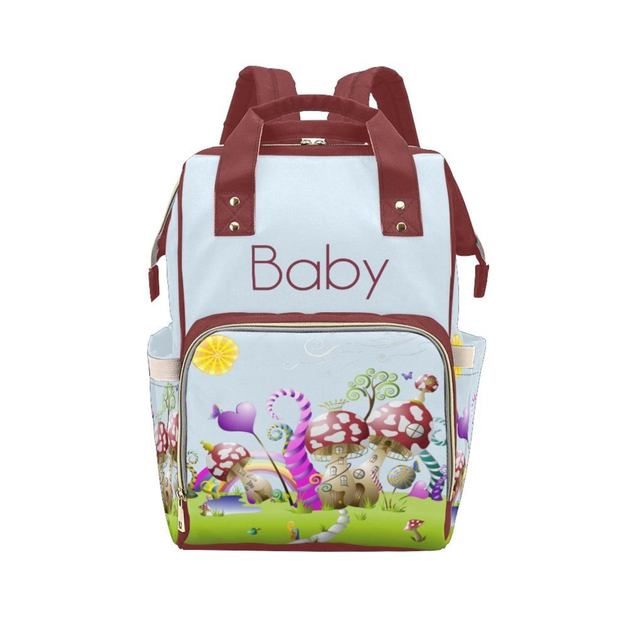 Personalize Optional - Designer Baby Bag With Gnome Mushroom Village - Waterproof Multifunction Backpack