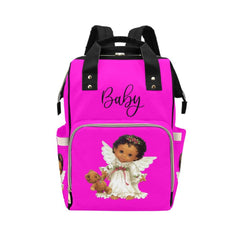 Designer Diaper Bags - Backpack Baby Bag Cutest African American Baby Angel Hot Pink Multi-Function Backpack(Model1688)