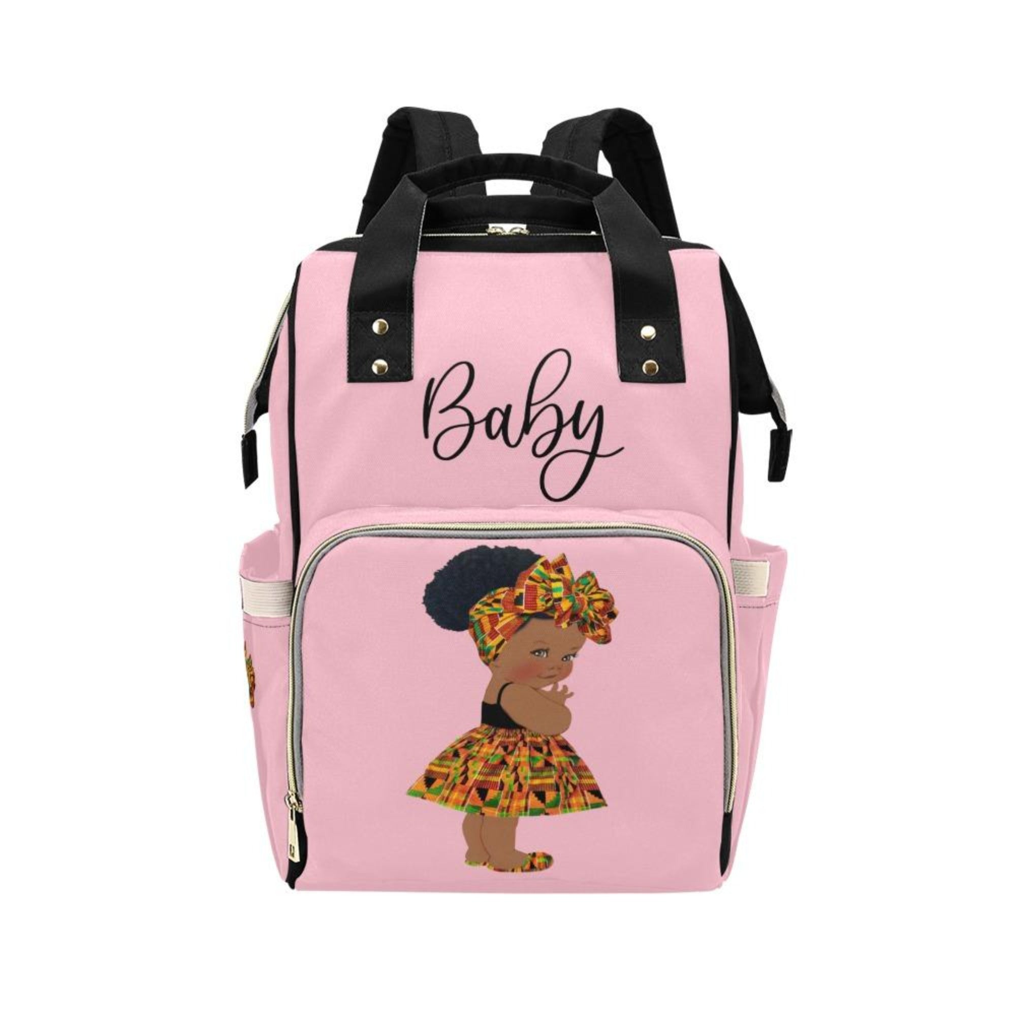 Designer Diaper Bag - Ethnic African American Baby Girl - Powder Pink Multi-Function Backpack