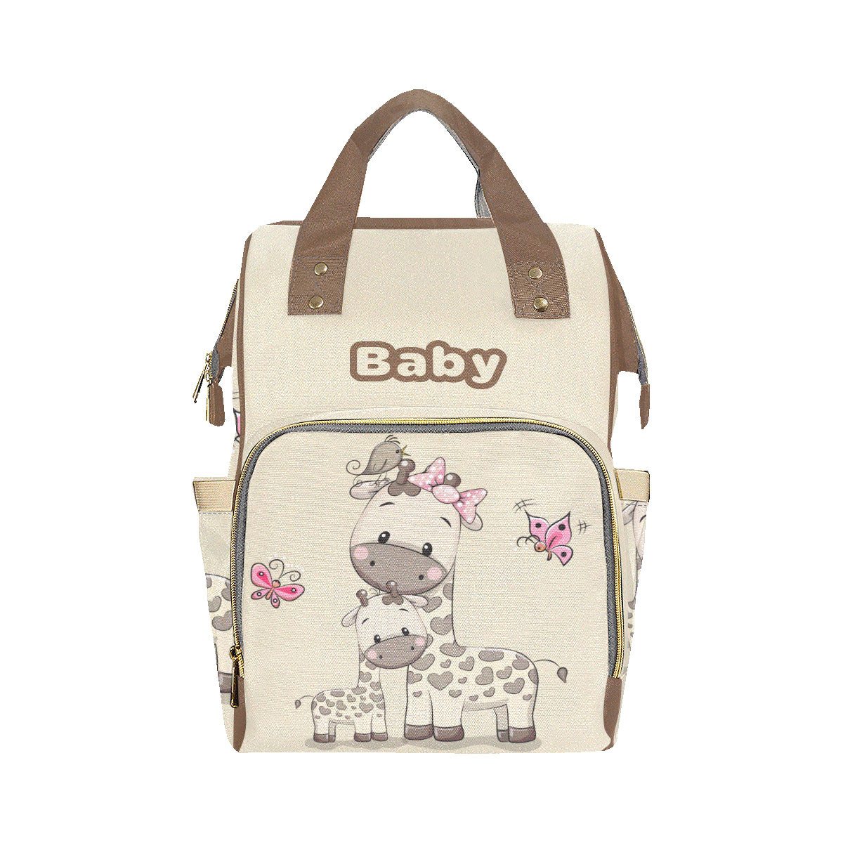 Mommy & Baby Giraffe Tan Baby Bag Multi-Function Premium Backpack