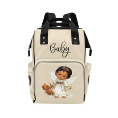 Designer Diaper Bags - Backpack Baby Bag Cutest African American Baby Angel Beige Multi-Function Backpack