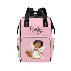 Designer Diaper Bags - Backpack Baby Bag Cutest African American Baby Angel Baby Pink Multi-Function Backpack
