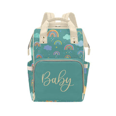 Personalize Optional - Designer Diaper Bags - Unisex Rainbows With Baby Name On Green - Waterproof Multi-Function Backpack