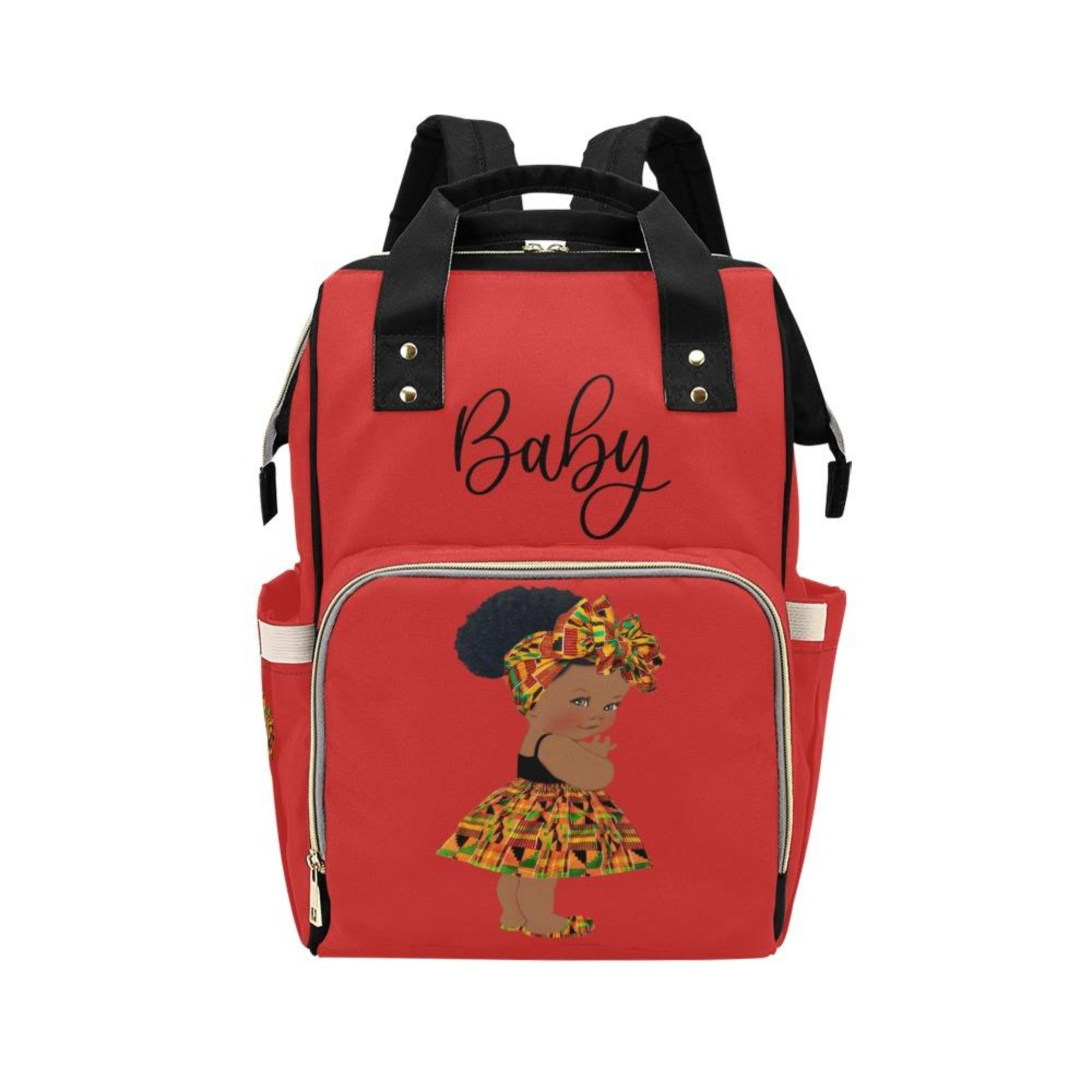 Designer Diaper Bag - Ethnic African American Baby Girl - Red Multi-Function Backpack