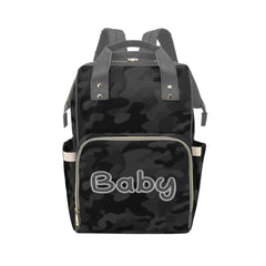 Designer Diaper Bags - Backpack Baby Bag Black And Gray Camouflage Boys Multi-Function Backpack