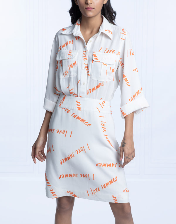 I LOVE SUMMER SHIRT DRESS