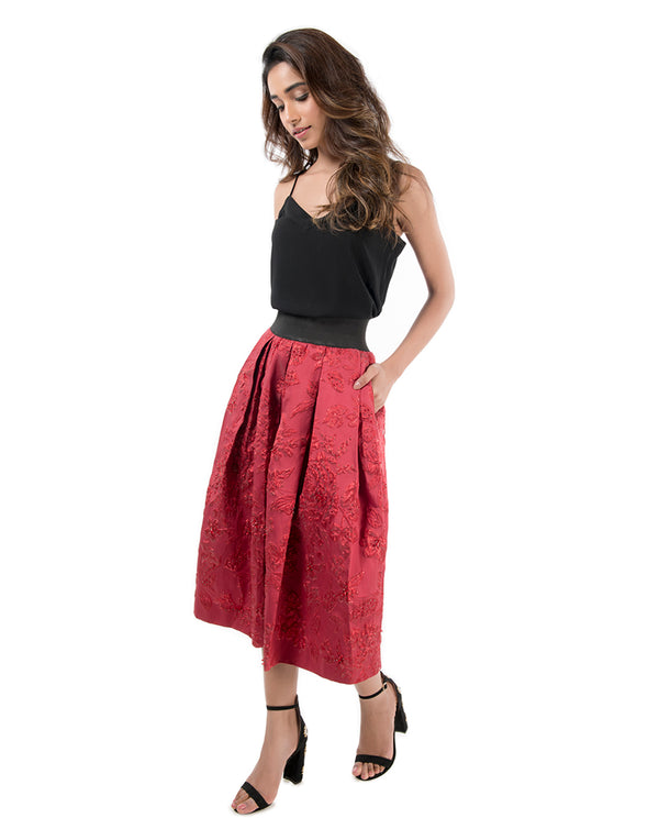 Red Jacquard Skirt
