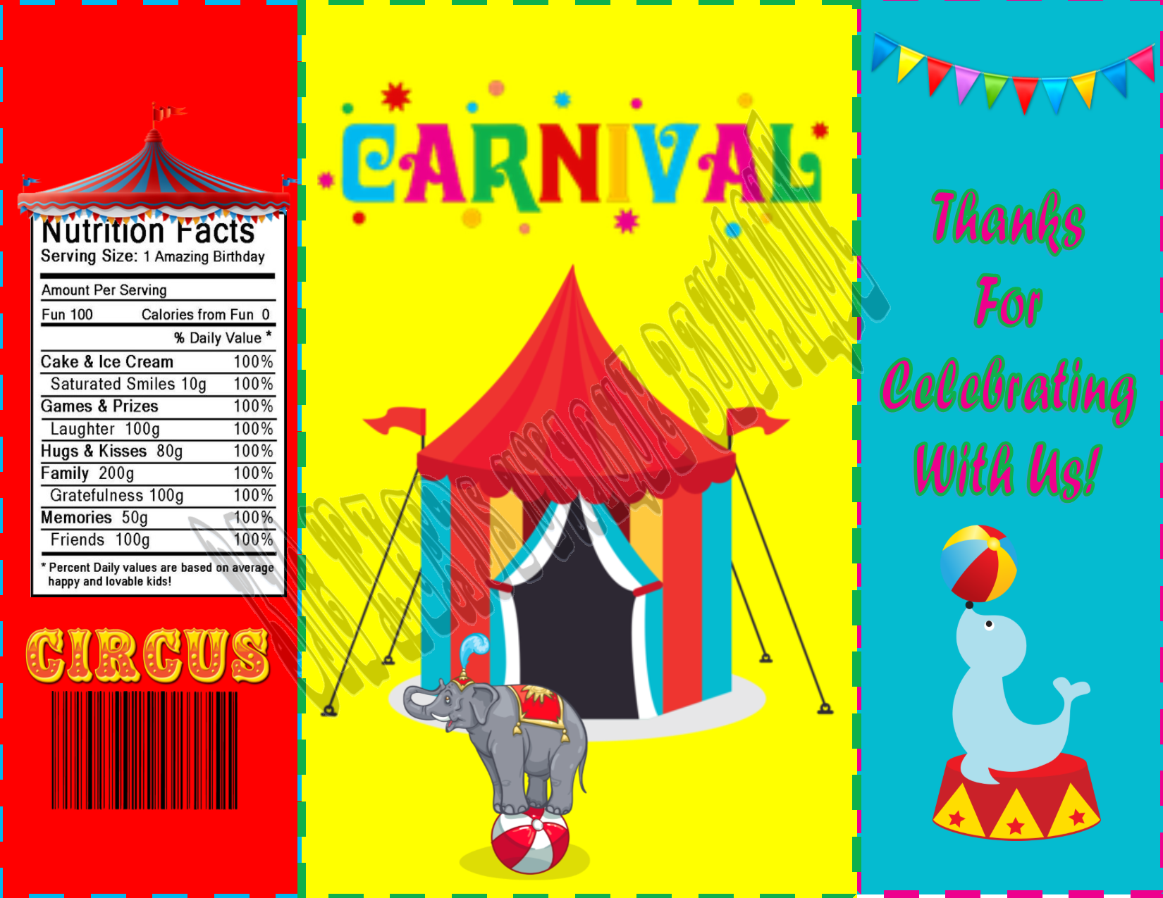 picture about Printable Chip Bags named Carnival Birthday Chip Quick Obtain