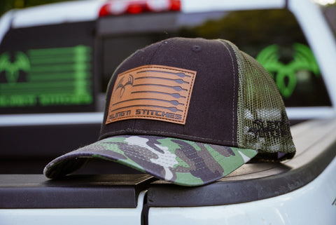 Arrow flag leather patch snap back