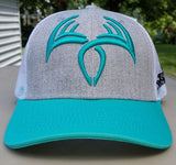 Sling'n Stitches Rack Symbol snap back Teal/ Heather Grey