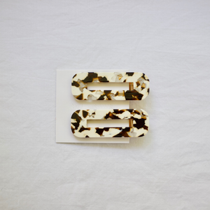 Coco Cream Tortoise Hair Clips by NAT + NOOR