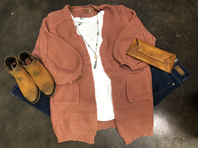 Dusty Cedar Open Cardigan with Pockets