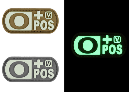 "Blood Type  ""Super-Lumen"" Glow-In-The-Dark Patch Wolf Gray / O Pos Vanquest  medical-gear-outfitters.myshopify.com Medical Gear Outfitters"