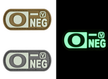 "Load image into Gallery viewer, Blood Type  ""Super-Lumen"" Glow-In-The-Dark Patch Wolf Gray / O Neg Vanquest  medical-gear-outfitters.myshopify.com Medical Gear Outfitters"