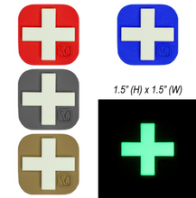 "Load image into Gallery viewer, Medical Cross - ""Super-Lumen"" Glow-In-The-Dark Patch 1.5 "" x 1.5 "" Large"