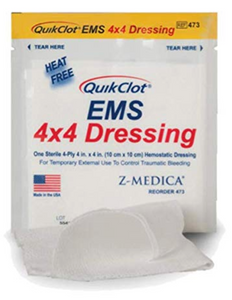 QUIKCLOT 4 X 4 Emergency Dressing W/Hemostatic Agent, 3/PK