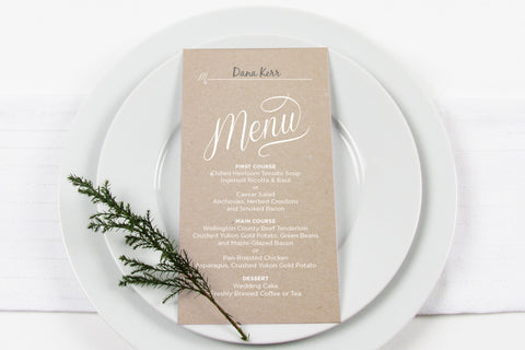 Craft Menu/Place Card