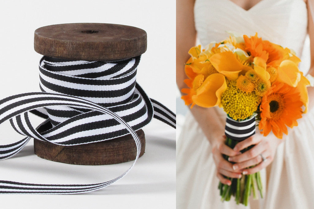 Black and White Mono Stripe Ribbon