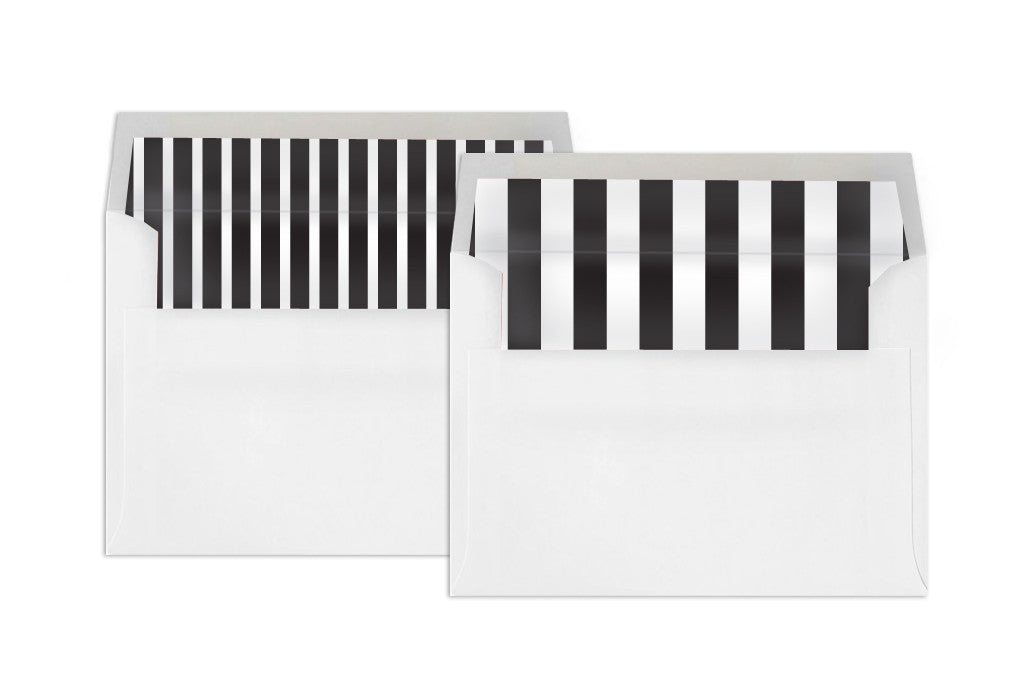 Square Envelope Liners – Vertical Stripe in Black and White