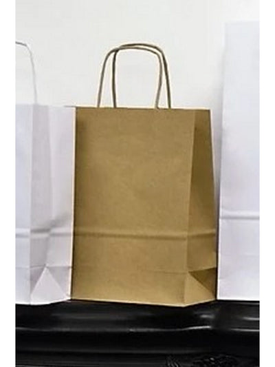 180 x 225 x 80mm Brown Kraft 90gsm Gusset Twisted Paper Handle Retail Bag RB225M